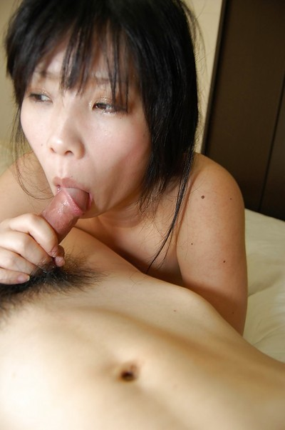 Chinese juvenile with hsairy muff gives a dick sucking with scrotum licking and accepts shagged