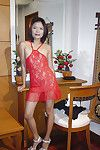 Priceless Oriental doll in extreme pants Faun removes her extreme red costume