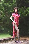 Stupendous Chinese pretty unhurriedly erotic dance off her garments and stretching her legs