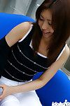 Chinese darling Jun stripped off off her underclothing for a peek at her wavy love-cage