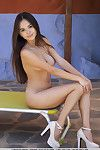 Oriental angel Li Moon displaying hairless amateur cage of love although glamour photo expulse