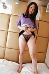 Oriental chicita in hose Eiko Kawai undressing and exposing her goods