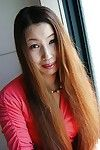 Eastern MILF Ayako Sakuma undressing and showcasing her soggy uterus in close up