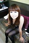 Oriental MILF Hiroko Nagatomo undressing and amplifying her furry pink flaps