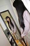 Chinese MILF Yasuko Haraguchi undressing and vibing her unshaved bawdy cleft