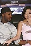 Oriental prostitute has some interracial fellatio and very getting joy in the car
