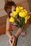 Japanese adolescent Chisa Harihara getting in nature\'s garb and playing with a sextoy