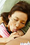 Hungry oriental mentor in glasses Hayakawa Saki acquires shagged and facialized