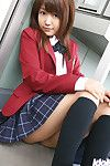 Lusty Chinese coed in uniform flashing her underwear and small bumpers