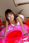 Unpitying oriental coed with untamed small legs erotic dance and posing in underclothes