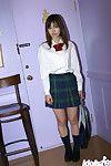Bawdy Chinese schoolgirl Hikaru Koto slipping off her uniform