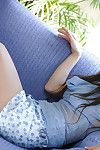 Stunning Japanese amateur chicito Ryo Uehara striptease off her costume and underclothes