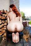 Redhead Japanese juvenile Lea Hart swelling shiny on top amateur muff outdoors