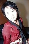 Short-haired Japanese cutie in pipe undressing and exposing her uterus