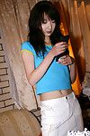 Ache Chinese hottie uncovering her miniature whoppers and unshaven cage of love
