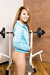 Sporty Japanese principal timer Kandy swelling smooth on top cum-hole in weight room