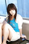 Charming oriental coed uncovering her little whoppers and charming off her petticoat