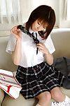 Fabulous Japanese schoolgirl Akane Sakura erotic dance off her uniform
