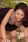 Adolescent Chinese hotty Evelyn Lin sliding underclothes aside to expand clits