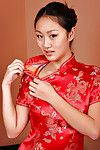 Juvenile Japanese princess sample Evelyn Lin revealing miniscule melons and smooth head cooch