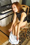 Teen Chinese lass with surprising legs revealing shaggy cooter bottom petticoat