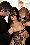 Masked Japanese pornstar Asa Akira getting penetrated in MMF Male+Male+Female