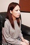 Covered Japanese Mayu Matsukawa demonstrating her wonderful anus on a sofa