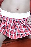 Unconventional Lalin girl darling Clarice exposing smooth adolescent wet crack from underside petticoat
