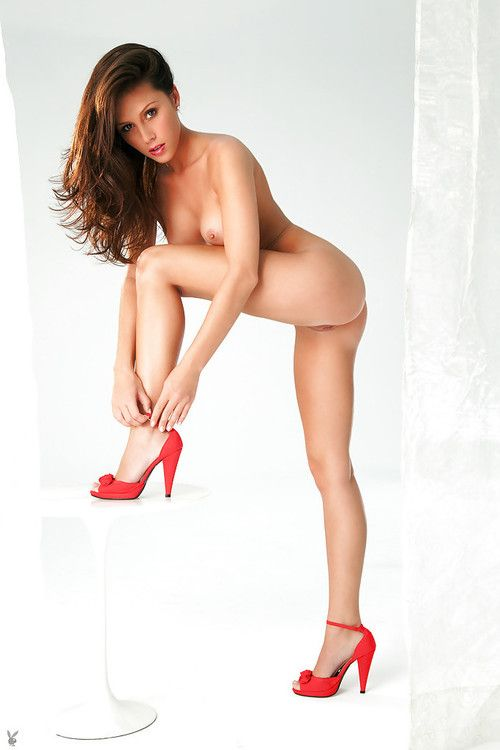 Perspired lass in red high heeled shoes Kayla Love winsome off her underclothes