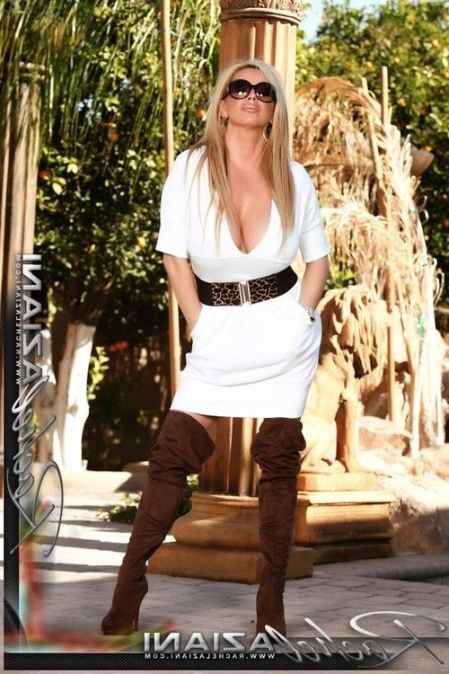 Pretty boobsy blonde, Rachel Aziani, is so sweaty in her thigh-high boots and dress. This babe puts on a smokin