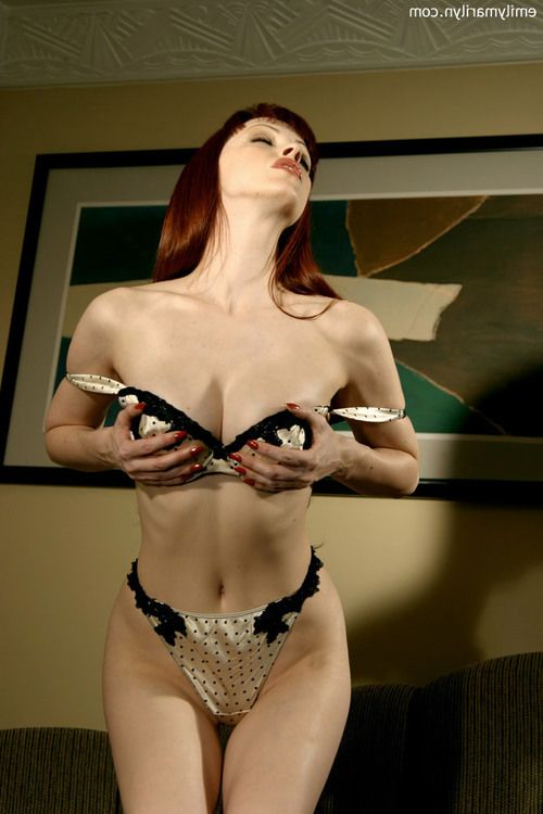 Extreme redhead Emily Marilyn remove clothes tease uncovered in high heels