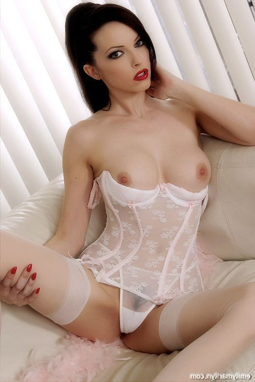 Brunette hair infatuation mistress Emily Marilyn teasing in cute white underware and nylons with powerful pink stilettos