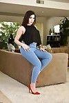 Dark brown solo lass Valentina Nappi sliding jeans over biggest heavy butt