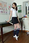 Fabulous dark hair case Fawna Latrisch posing seductively in knee socks