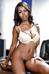Ebon office worker Jezabel Vessir exposes mammoth breasts and waste below underclothes