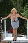 Stunning blonde, Rachel Aziani, positions outdoors in the California sun. This chick can\'t suppose to show u her shaved, fucking smooth fur pie and her colossal giant boobies!