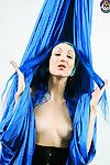 Undressed blue haired silk trapeze and contortion artist alecia fun