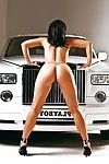 Sensuous dear Tunde Pavlik posing as mother gave birth and caressing she is in the car