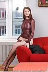 Glamourous Euro adolescent Emily Bloom showing off fixed wazoo in damp nylons