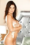 Steaming moist dark brown Amanda Cerny erotic dancing off her underclothes