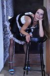 Upskirt French female house slave makes public a couple of chic stockings bound to her corset