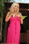 Sexual curvy golden-haired pornstar, Mary Carey, is such a flirt in her hope pink costume revealing her immense mangos and smooth cage of love for all to see!