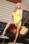 A bright yellow costume and no strings makes for a sweaty unleash with titsy blond pornstar, Mary Carey.
