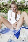 Skinny golden-haired courtesan Milena D fingers her orgasmic pink gentile outdoors