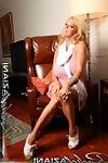 The blond beauty, Rachel Aziani shows off her unyielding adult baby snatch and huge clit.