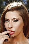 Bosomy case Madison Ivy giving head to pine for phallus outdoors
