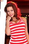Curvy Holly prizes in a red and white striped dominant