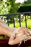 Loveable fairy-haired pretty sliping off her underware and posing uncovered outdoor