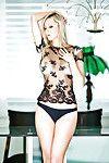 Miniscule blond darling on high heels Heather Bauer erotic dancing off her sexy pants
