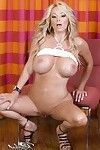 Marvelous golden-haired hottie, Rachel Aziani, looks surprising in her small jean underclothes and fixed white basin Master that shows off her breathtaking colossal tits!